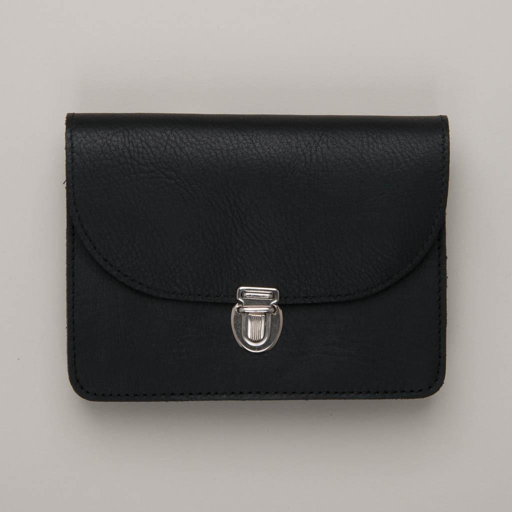 Papoutsi Borsa IV Geldbörse aus schwarzem High Chaparral Leder