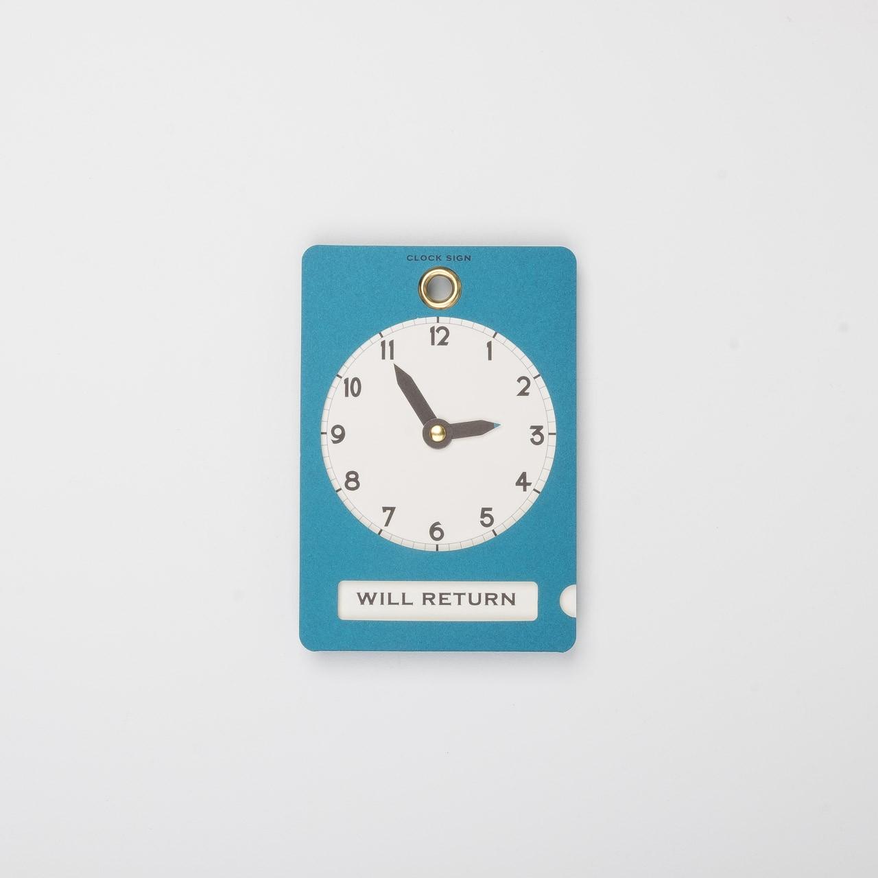 Hinweiskarte mit Uhrzeit