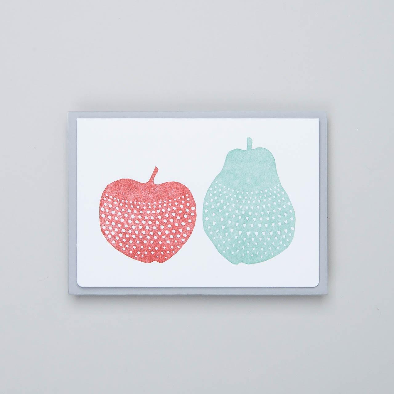 """japanische Letterpress Klappkarte """"Apfel und Birne"""""""