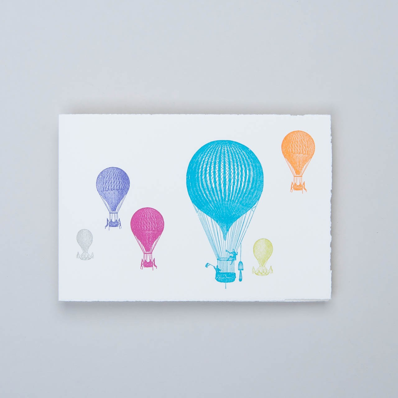 Klappkarte Letterpress bunte Ballons