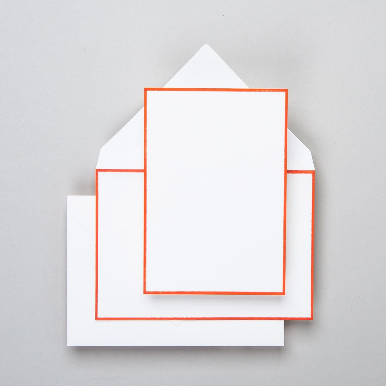 Karte & Umschlag handgerändert in orange groß