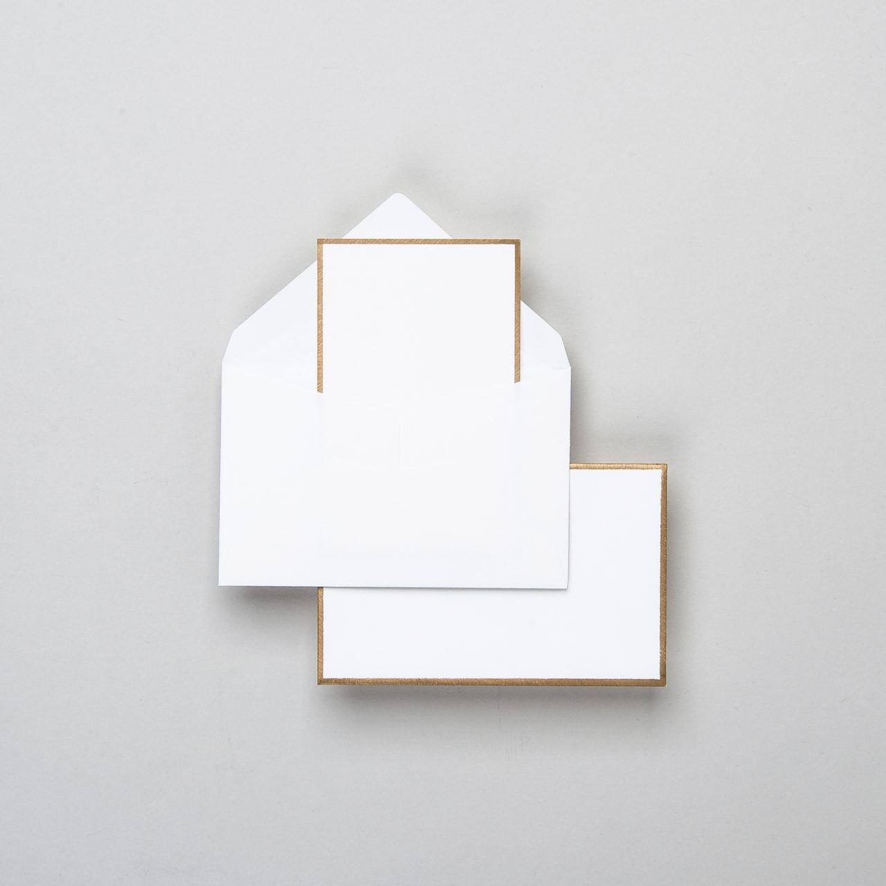 Karte & Umschlag handgerändert in gold klein